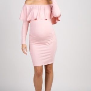 NewPink Ruffle Trim Off Shoulder Fitted Maternity